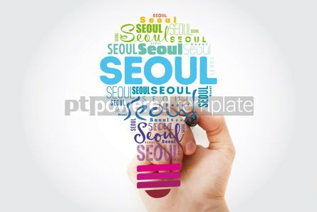 Business: Seoul light bulb word cloud travel concept background #13934