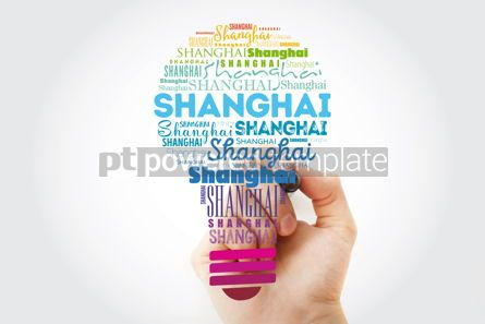 Business: Shanghai light bulb word cloud travel concept background #13936