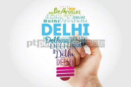 Business: Delhi light bulb word cloud travel concept background #13937