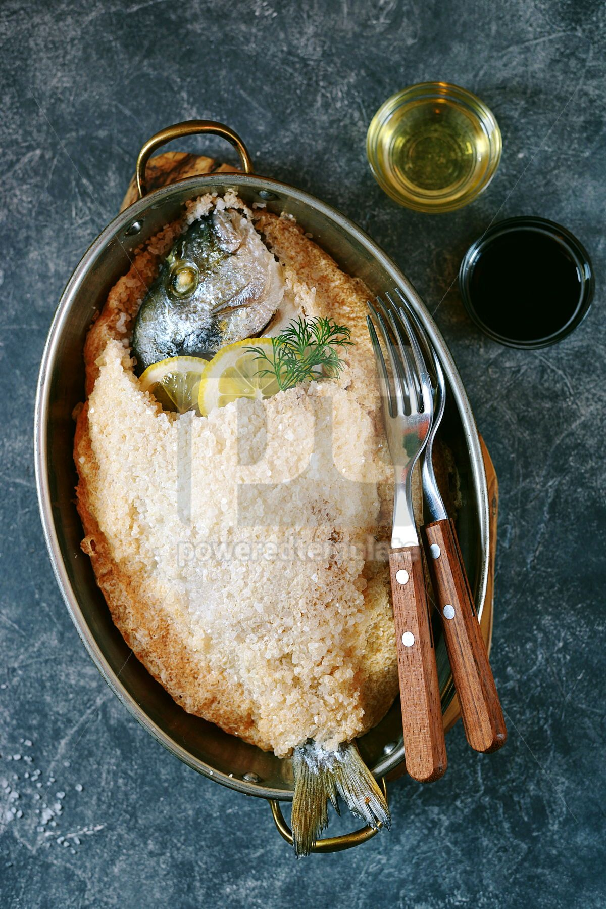 Sea fish dorado fish baked in coarse salt mixed with egg white Healthy food Top view, 13951, Food & Drink — PoweredTemplate.com