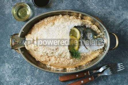 Food & Drink: Sea fish dorado fish baked in coarse salt mixed with egg white Healthy food Top view #13952