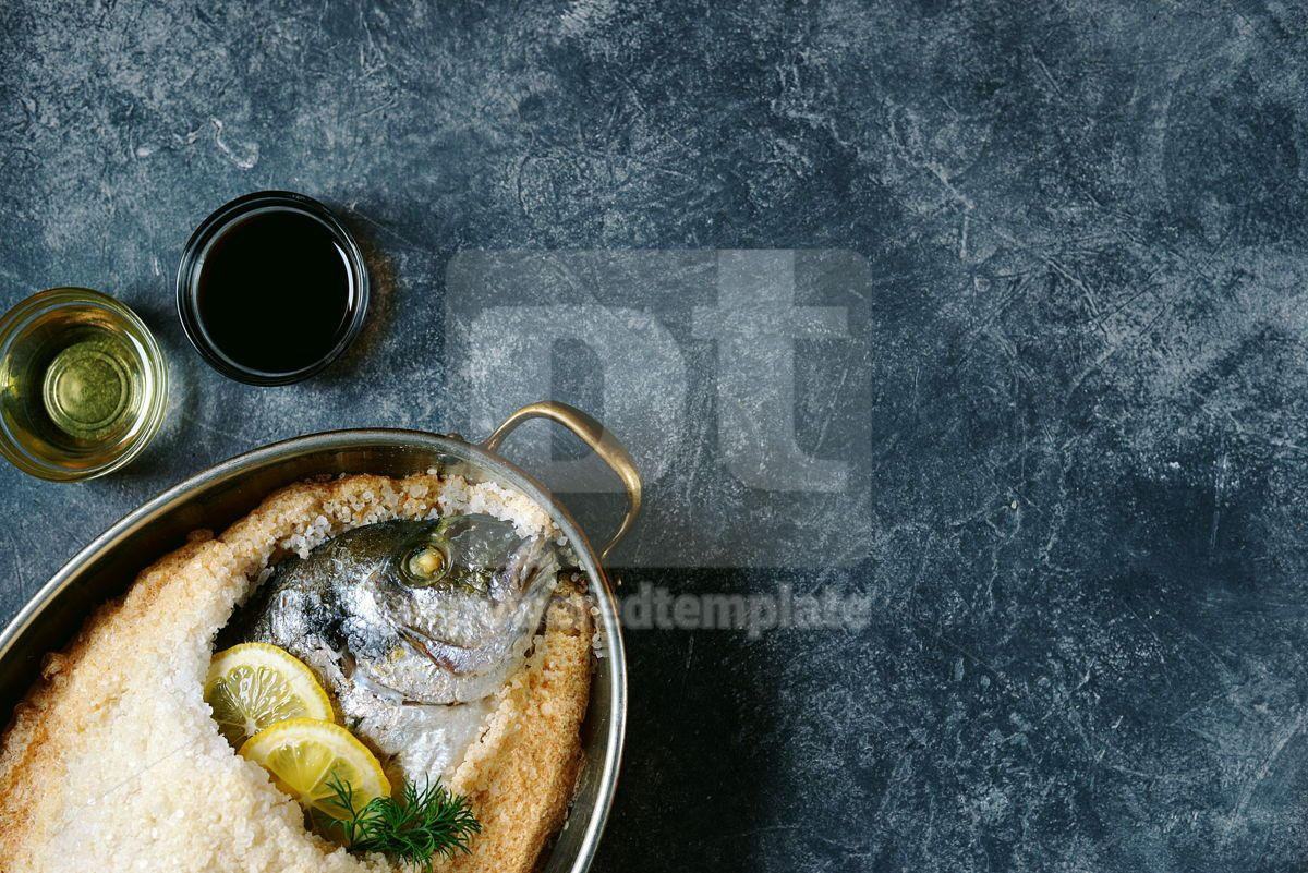 Sea fish dorado fish baked in coarse salt mixed with egg white Healthy food Top view Copy cpace, 13953, Food & Drink — PoweredTemplate.com