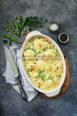 Food & Drink: Cauliflower casserole with green peas and onions Delicious homemade food #13958
