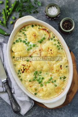 Food & Drink: Cauliflower casserole with green peas and onions Delicious homemade food #13959