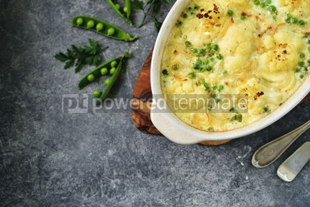 Food & Drink: Cauliflower casserole with green peas and onions Delicious homemade food #13960