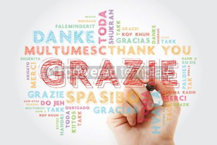 Business: Grazie Thank You in Italian word cloud background in different #13975