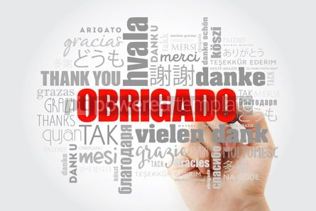 Business: Obrigado Thank You in Portuguese Word Cloud with marker in man #13980