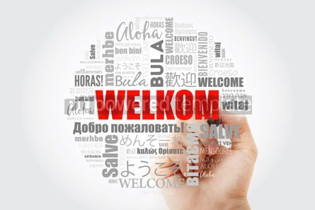 Business: Welkom Welcome in Afrikaans word cloud with marker in differen #13987