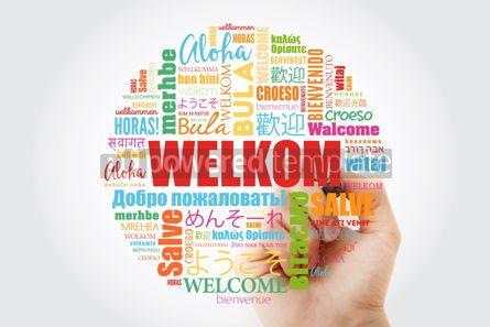 Business: Welkom Welcome in Afrikaans word cloud with marker in differen #13988