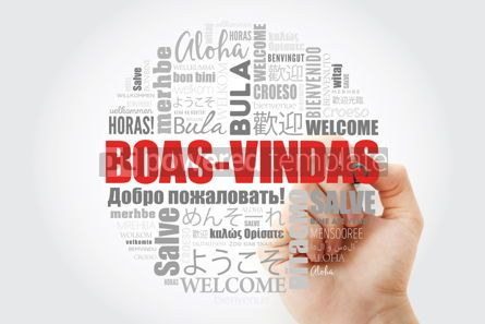 Business: Boas-Vindas Welcome in Brazilian Portuguese word cloud with ma #13993