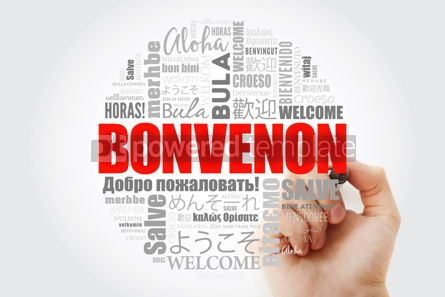 Business: Bonvenon Welcome in Esperanto word cloud with marker in differ #13997