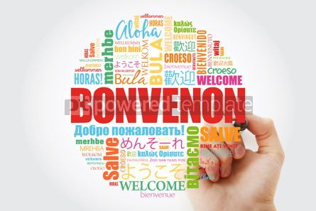 Business: Bonvenon Welcome in Esperanto word cloud with marker in differ #13998