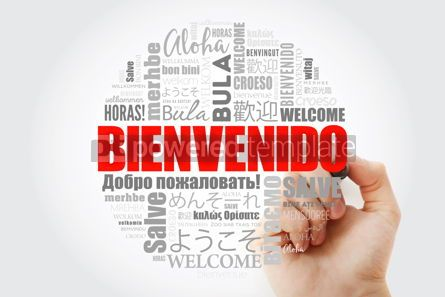 Business: Bienvenido Welcome in Spanish word cloud with marker in differ #14003