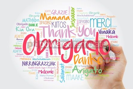 Business: Obrigado Thank You in Portuguese Word Cloud in different langu #14009