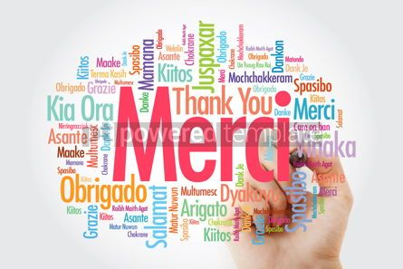 Business: Merci Thank You in French Word Cloud with marker all language #14017