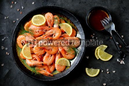 Food & Drink: Cooked large shrimps with lemon dill and tomato sauce Healthy food Top view #14076