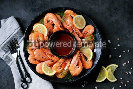 Food & Drink: Cooked large shrimps with lemon dill and tomato sauce Healthy food Top view #14077