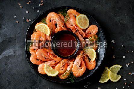 Food & Drink: Cooked large shrimps with lemon dill and tomato sauce Healthy food Top view #14078
