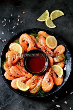 Food & Drink: Cooked large shrimps with lemon dill and tomato sauce Healthy food Top view #14079