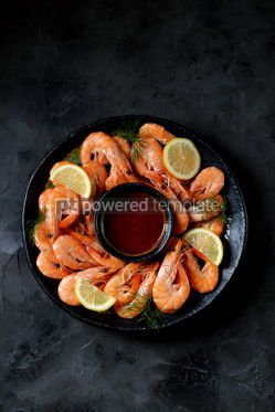 Food & Drink: Cooked large shrimps with lemon dill and tomato sauce Healthy food Top view #14080