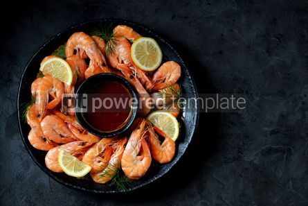 Food & Drink: Cooked large shrimps with lemon dill and tomato sauce Healthy food Top view #14081