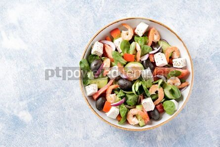 Food & Drink: Classic Greek salad from shrimps tomatoes cucumbers and red pepper #14085
