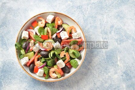 Food & Drink: Classic Greek salad from shrimps tomatoes cucumbers and red pepper #14086