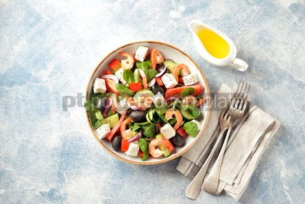 Food & Drink: Classic Greek salad from shrimps tomatoes cucumbers and red pepper #14087