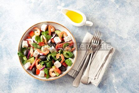 Food & Drink: Classic Greek salad from shrimps tomatoes cucumbers and red pepper #14088