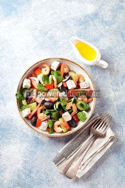 Food & Drink: Classic Greek salad from shrimps tomatoes cucumbers and red pepper #14089