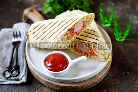 Food & Drink: Roll of pita bread with Chinese cabbage carrots cucumber tomatoes sausage #14090