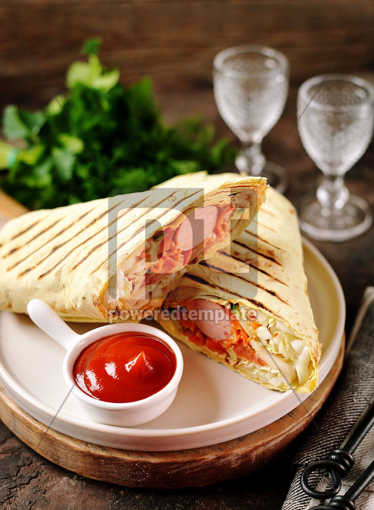 Roll of pita bread with Chinese cabbage carrots cucumber tomatoes sausage, 14091, Food & Drink — PoweredTemplate.com