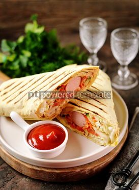 Food & Drink: Roll of pita bread with Chinese cabbage carrots cucumber tomatoes sausage #14091