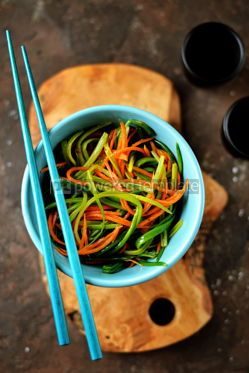 Food & Drink: Marinated wild garlic ramson with carrots white balsamic vinegar olive oil and seasonings #14093