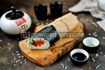 Food & Drink: Sushi Burrito with salmon cucumber sweet pepper and cream cheese #14108