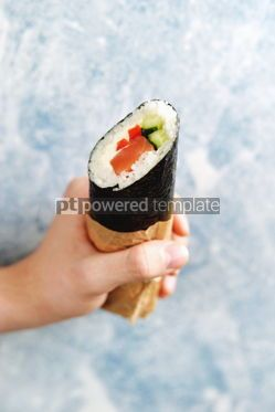 Food & Drink: Sushi Burrito with salmon cucumber sweet pepper and cream cheese #14109