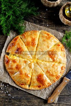 Food & Drink: Puff pastry cheesecake on an old wooden background Rustiс food #14113