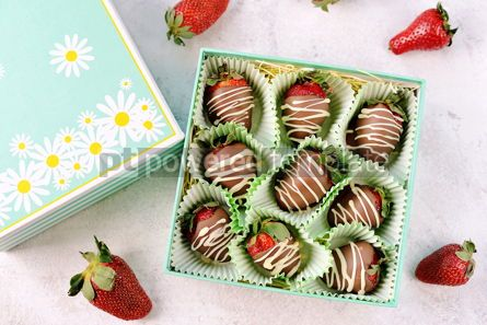 Food & Drink: Delicious fresh strawberries in milk and white chocolate #14124