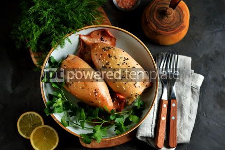 Food & Drink: Fresh stuffed squids with rice and mushrooms baked in the oven Top view #14130