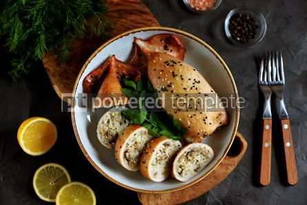 Food & Drink: Fresh stuffed squids with rice and mushrooms baked in the oven Top view #14131