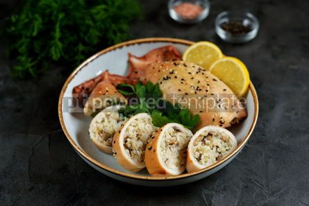 Food & Drink: Fresh stuffed squids with rice and mushrooms baked in the oven #14133
