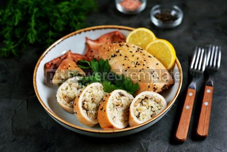 Food & Drink: Fresh stuffed squids with rice and mushrooms baked in the oven #14134