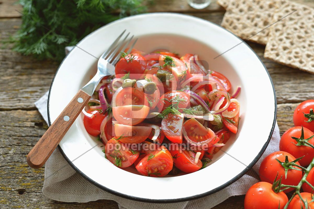 Cherry tomato salad with red onions capers and dill with olive oil soy sauce and wine vinegar, 14154, Food & Drink — PoweredTemplate.com