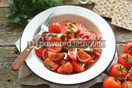 Food & Drink: Cherry tomato salad with red onions capers and dill with olive oil soy sauce and wine vinegar #14154