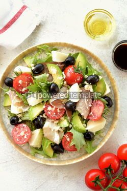 Food & Drink: Salad with ham mozzarella avocado cherry tomatoes black olives and parmesan #14156