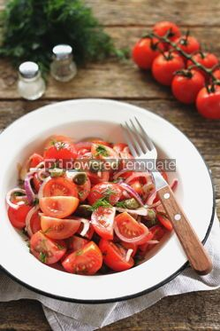Food & Drink: Cherry tomato salad with red onions capers and dill with olive oil soy sauce and wine vinegar #14158