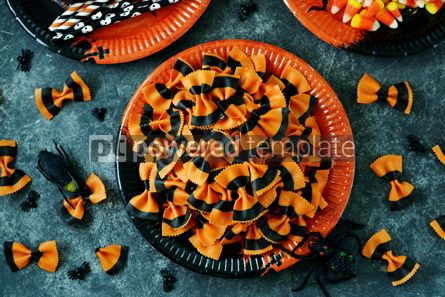 Food & Drink: Raw Pasta farfalle for Halloween party in Mason jar Halloween background #14185