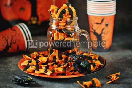 Food & Drink: Raw Pasta farfalle for Halloween party in Mason jar Halloween background #14186