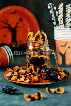Food & Drink: Raw Pasta farfalle for Halloween party in Mason jar Halloween background #14187