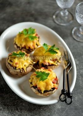 Food & Drink: Stuffed mushrooms with smoked meat fried onions and hard cheese #14209